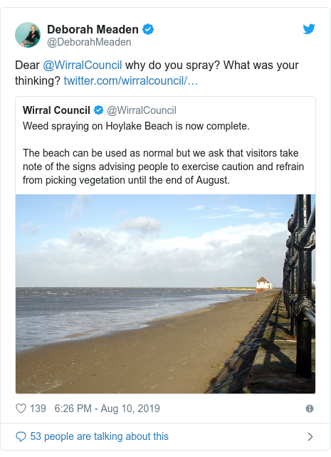 Twitter post by @DeborahMeaden: Dear @WirralCouncil why do you spray? What was your thinking?