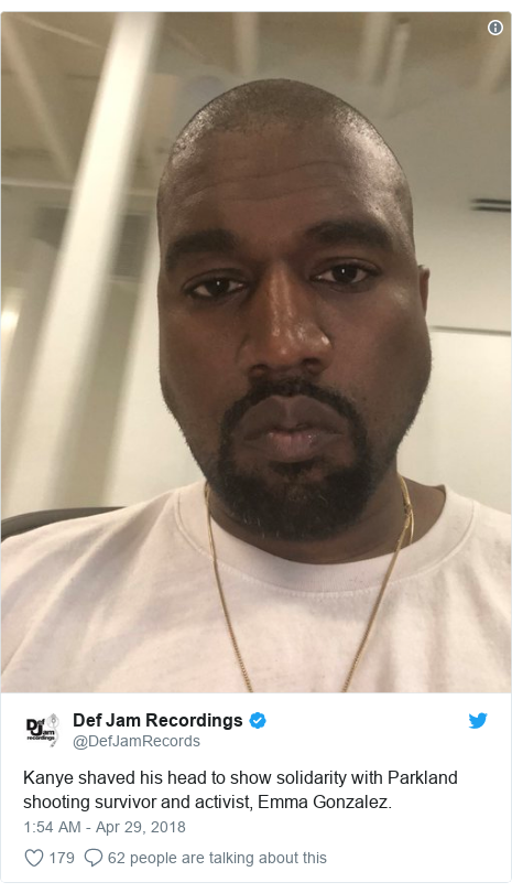 Twitter post by @DefJamRecords: Kanye shaved his head to show solidarity with Parkland shooting survivor and activist, Emma Gonzalez.