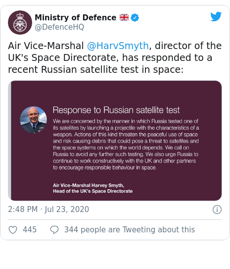 Twitter post by @DefenceHQ: Air Vice-Marshal @HarvSmyth, director of the UK's Space Directorate, has responded to a recent Russian satellite test in space