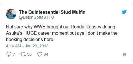 Twitter post by @DeionGottaSTFU: Not sure why WWE brought out Ronda Rousey during Asuka's HUGE career moment but aye I don't make the booking decisions here
