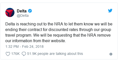 Twitter post by @Delta: Delta is reaching out to the NRA to let them know we will be ending their contract for discounted rates through our group travel program. We will be requesting that the NRA remove our information from their website.