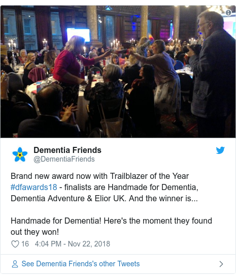 Twitter post by @DementiaFriends: Brand new award now with Trailblazer of the Year #dfawards18 - finalists are Handmade for Dementia, Dementia Adventure & Elior UK. And the winner is...Handmade for Dementia! Here's the moment they found out they won!