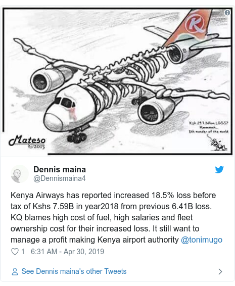 Ujumbe wa Twitter wa @Dennismaina4: Kenya Airways has reported increased 18.5% loss before tax of Kshs 7.59B in year2018 from previous 6.41B loss. KQ blames high cost of fuel, high salaries and fleet ownership cost for their increased loss. It still want to manage a profit making Kenya airport authority @tonimugo