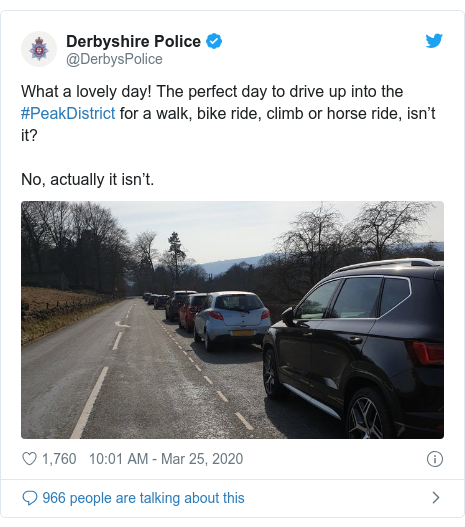 Twitter post by @DerbysPolice: What a lovely day! The perfect day to drive up into the #PeakDistrict for a walk, bike ride, climb or horse ride, isn't it?No, actually it isn't.