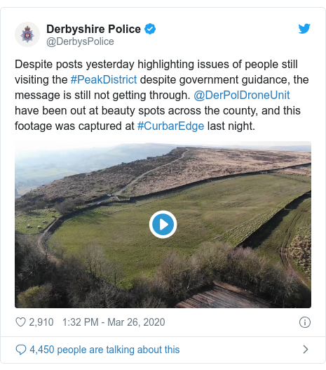 Twitter post by @DerbysPolice: Despite posts yesterday highlighting issues of people still visiting the #PeakDistrict despite government guidance, the message is still not getting through. @DerPolDroneUnit have been out at beauty spots across the county, and this footage was captured at #CurbarEdge last night.