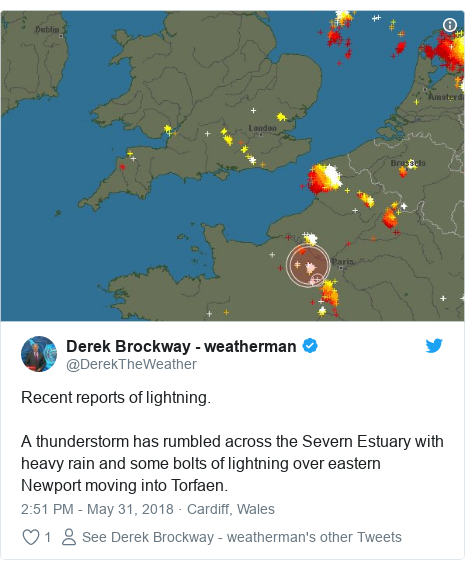 Twitter post by @DerekTheWeather: Recent reports of lightning.A thunderstorm has rumbled across the Severn Estuary with heavy rain and some bolts of lightning over eastern Newport moving into Torfaen.