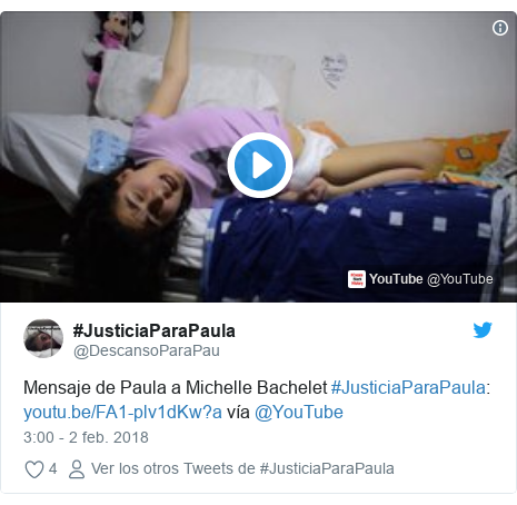 Publicación de Twitter por @DescansoParaPau: Mensaje de Paula a Michelle Bachelet #JusticiaParaPaula   vía @YouTube
