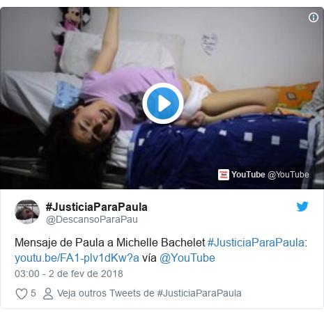 Twitter post de @DescansoParaPau: Mensaje de Paula a Michelle Bachelet #JusticiaParaPaula   vía @YouTube