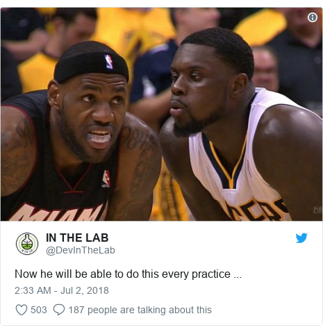 Twitter post by @DevInTheLab: Now he will be able to do this every practice ...