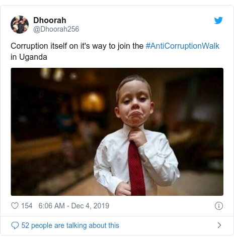 Twitter post by @Dhoorah256: Corruption itself on it's way to join the #AntiCorruptionWalk in Uganda