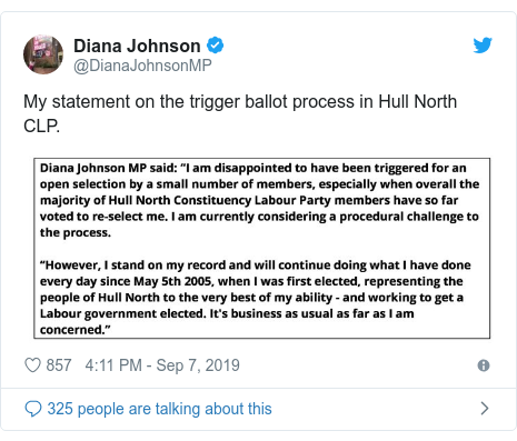 Twitter post by @DianaJohnsonMP: My statement on the trigger ballot process in Hull North CLP.