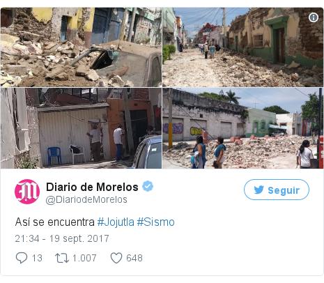 Publicación de Twitter por @DiariodeMorelos: Así se encuentra #Jojutla #Sismo pic.twitter.com/CNh60zwwZX