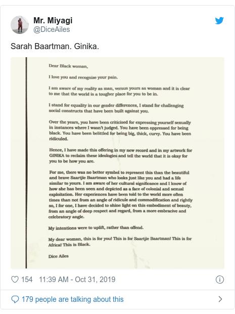 Twitter post by @DiceAiles: Sarah Baartman. Ginika.