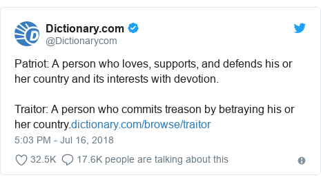 Twitter post by @Dictionarycom: Patriot  A person who loves, supports, and defends his or her country and its interests with devotion.Traitor  A person who commits treason by betraying his or her country.