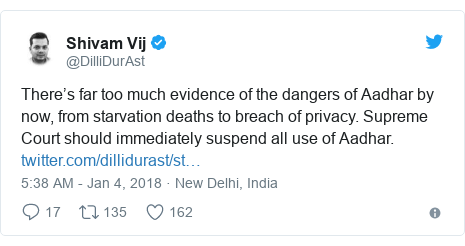 Twitter post by @DilliDurAst: There's far too much evidence of the dangers of Aadhar by now, from starvation deaths to breach of privacy. Supreme Court should immediately suspend all use of Aadhar.