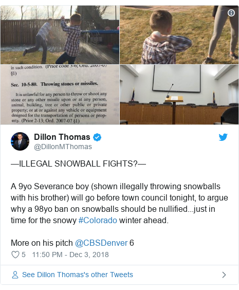 Twitter post by @DillonMThomas: —ILLEGAL SNOWBALL FIGHTS?—A 9yo Severance boy (shown illegally throwing snowballs with his brother) will go before town council tonight, to argue why a 98yo ban on snowballs should be nullified...just in time for the snowy #Colorado winter ahead.More on his pitch @CBSDenver 6