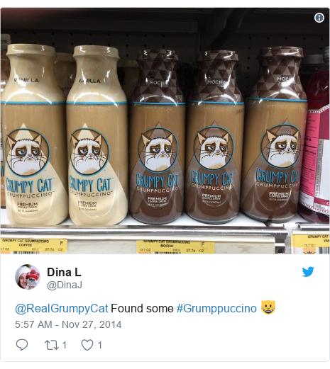Twitter post by @DinaJ: @RealGrumpyCat Found some #Grumppuccino 😺