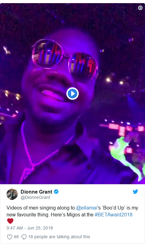 Twitter post by @DionneGrant: Videos of men singing along to @ellamai's 'Boo'd Up' is my new favourite thing. Here's Migos at the #BETAward2018 ❤️