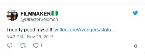Twitter post by @DirectorSolomon: I nearly peed myself!