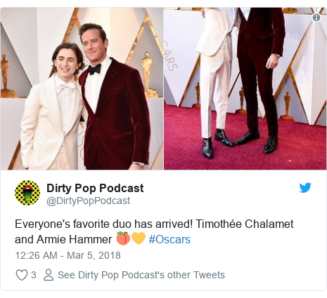 Twitter post by @DirtyPopPodcast: Everyone's favorite duo has arrived! Timothée Chalamet and Armie Hammer 🍑💛 #Oscars
