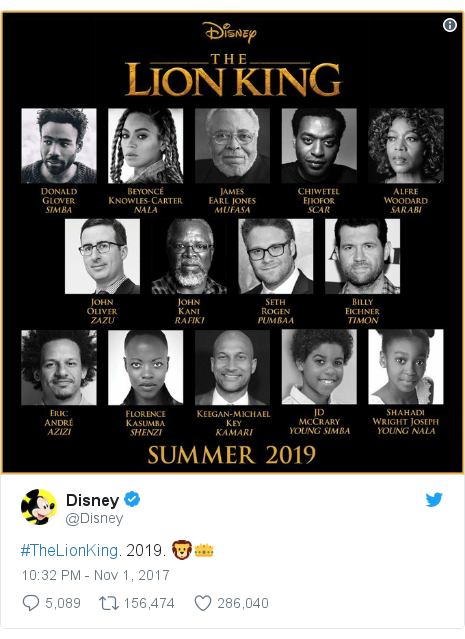 Twitter post by @Disney: #TheLionKing. 2019. 🦁👑