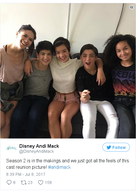 Twitter post by @DisneyAndiMack: Season 2 is in the makings and we just got all the feels of this cast reunion picture! #andimack