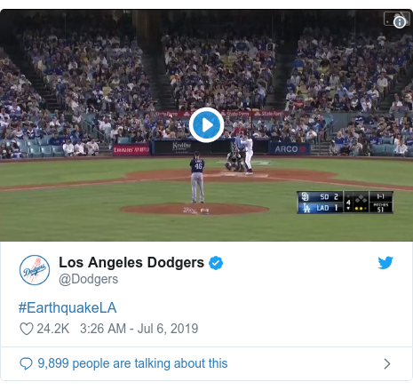 Twitter post by @Dodgers: #EarthquakeLA
