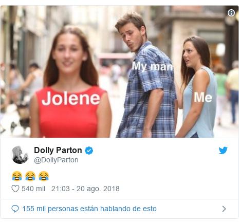 Publicación de Twitter por @DollyParton: 😂 😂 😂