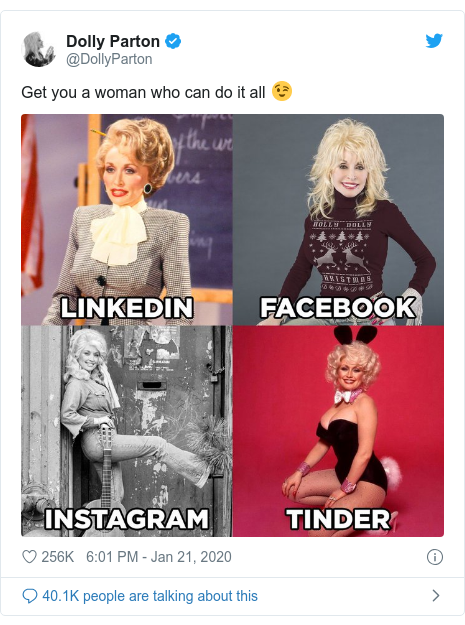 Twitter post by @DollyParton: Get you a woman who can do it all 😉