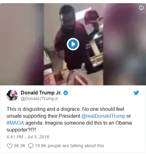 Twitter post by @DonaldJTrumpJr: This is disgusting and a disgrace. No one should feel unsafe supporting their President @realDonaldTrump or #MAGA agenda. Imagine someone did this to an Obama supporter?!?!