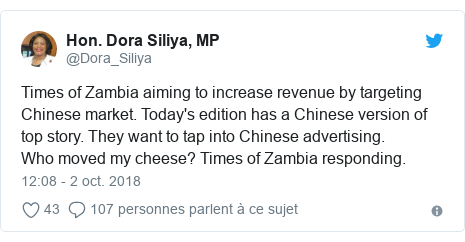 Twitter publication par @Dora_Siliya: Times of Zambia aiming to increase revenue by targeting Chinese market. Today's edition has a Chinese version of top story. They want to tap into Chinese advertising.Who moved my cheese? Times of Zambia responding.