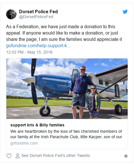 Twitter post by @DorsetPoliceFed: As a Federation, we have just made a donation to this appeal. If anyone would like to make a donation, or just share the page, I am sure the families would appreciate it