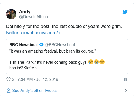 Twitter post by @DownlnAlbion: Definitely for the best, the last couple of years were grim.