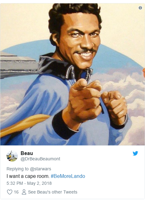 Twitter post by @DrBeauBeaumont: I want a cape room. #BeMoreLando
