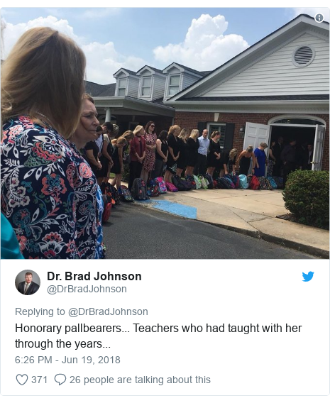 Twitter post by @DrBradJohnson: Honorary pallbearers... Teachers who had taught with her through the years...