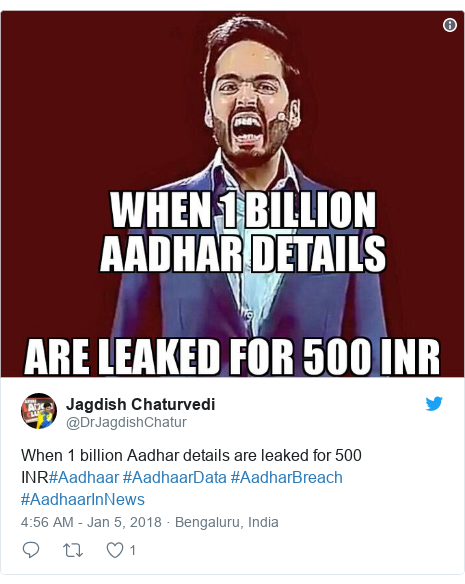 Twitter post by @DrJagdishChatur: When 1 billion Aadhar details are leaked for 500 INR#Aadhaar #AadhaarData #AadharBreach #AadhaarInNews