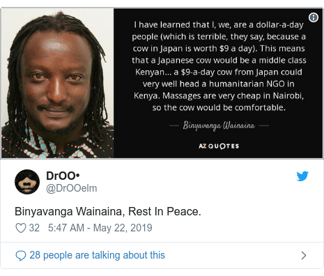 Twitter post by @DrOOelm: Binyavanga Wainaina, Rest In Peace.