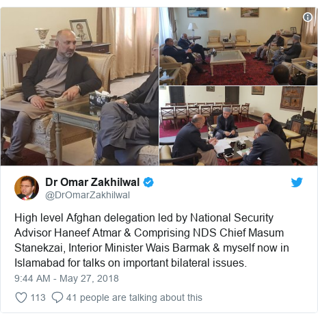 د @DrOmarZakhilwal په مټ ټویټر  تبصره : High level Afghan delegation led by National Security Advisor Haneef Atmar & Comprising NDS Chief Masum Stanekzai, Interior Minister Wais Barmak & myself now in Islamabad for talks on important bilateral issues.