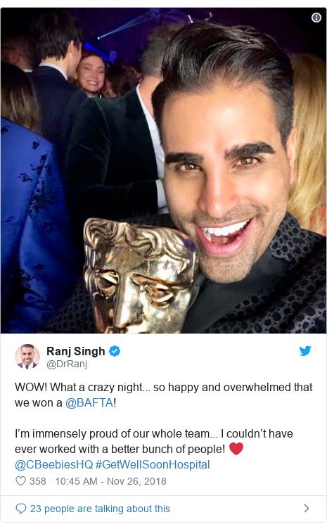 Twitter post by @DrRanj: WOW! What a crazy night... so happy and overwhelmed that we won a @BAFTA! I'm immensely proud of our whole team... I couldn't have ever worked with a better bunch of people! ❤️@CBeebiesHQ #GetWellSoonHospital