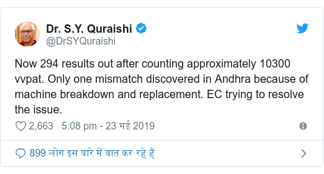 ट्विटर पोस्ट @DrSYQuraishi: Now 294 results out after counting approximately 10300 vvpat. Only one mismatch discovered in Andhra because of machine breakdown and replacement. EC trying to resolve the issue.