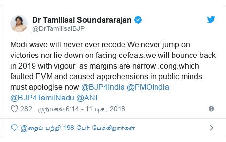டுவிட்டர் இவரது பதிவு @DrTamilisaiBJP: Modi wave will never ever recede.We never jump on victories nor lie down on facing defeats.we will bounce back in 2019 with vigour  as margins are narrow .cong.which faulted EVM and caused apprehensions in public minds must apologise now @BJP4India @PMOIndia @BJP4TamilNadu @ANI