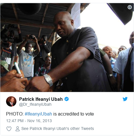 Twitter post by @Dr_IfeanyiUbah: PHOTO  #IfeanyiUbah is accredited to vote