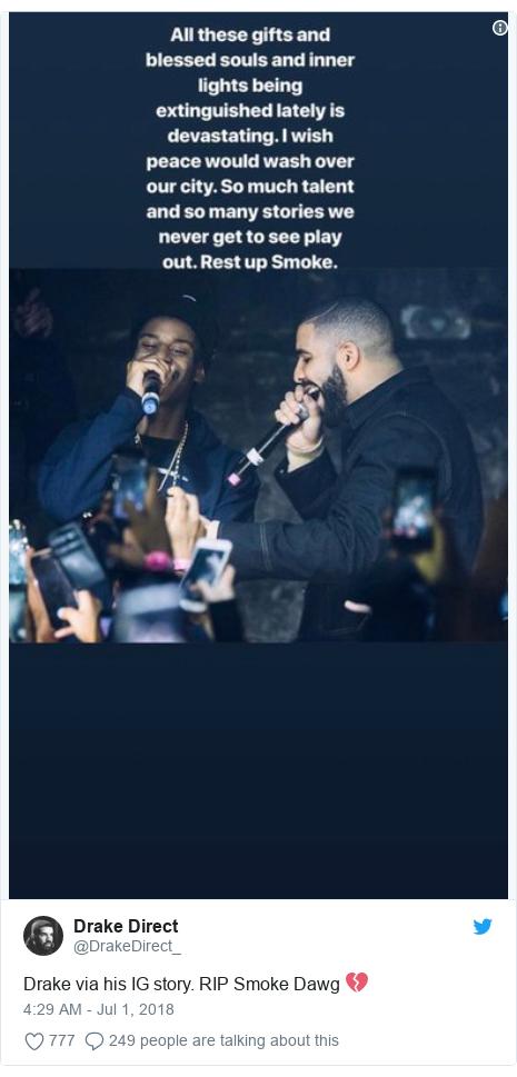 Twitter post by @DrakeDirect_: Drake via his IG story. RIP Smoke Dawg 💔