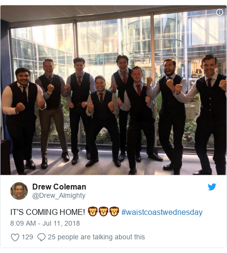 Twitter post by @Drew_Almighty: IT'S COMING HOME! 🦁🦁🦁 #waistcoastwednesday