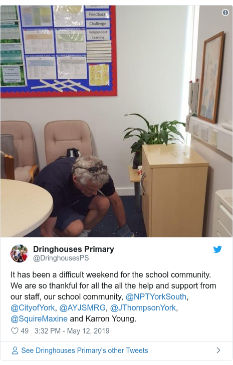 Twitter post by @DringhousesPS: It has been a difficult weekend for the school community. We are so thankful for all the all the help and support from our staff, our school community, @NPTYorkSouth, @CityofYork, @AYJSMRG, @JThompsonYork, @SquireMaxine and Karron Young.