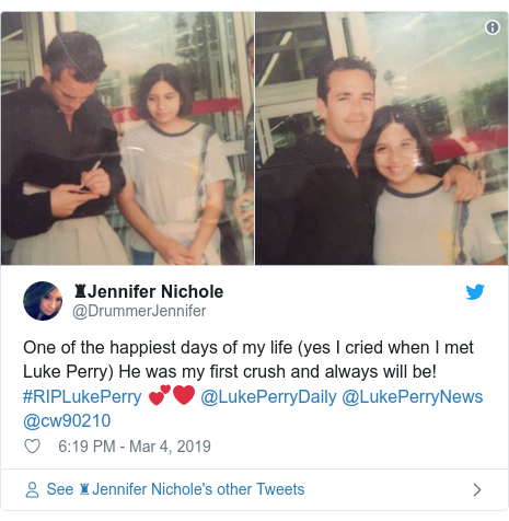 Twitter post by @DrummerJennifer: One of the happiest days of my life (yes I cried when I met Luke Perry) He was my first crush and always will be! #RIPLukePerry 💕❤️ @LukePerryDaily @LukePerryNews @cw90210