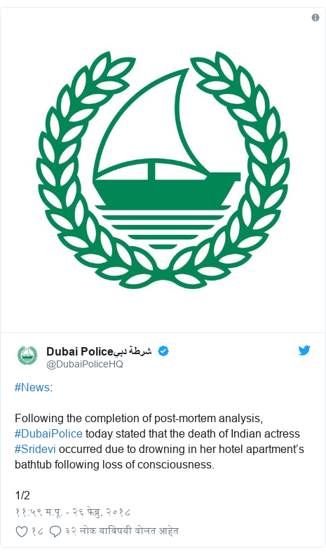 Twitter post by @DubaiPoliceHQ: #News Following the completion of post-mortem analysis, #DubaiPolice today stated that the death of Indian actress #Sridevi occurred due to drowning in her hotel apartment's bathtub following loss of consciousness.1/2