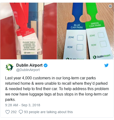 Twitter post by @DublinAirport: Last year 4,000 customers in our long-term car parks returned home & were unable to recall where they'd parked & needed help to find their car. To help address this problem we now have luggage tags at bus stops in the long-term car parks.