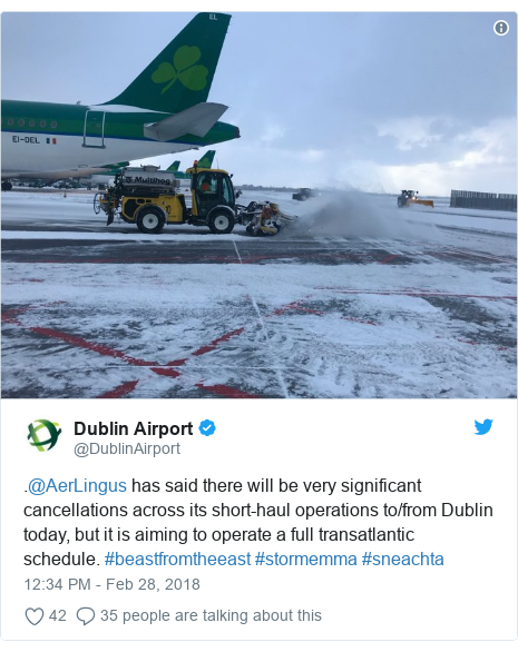 Twitter post by @DublinAirport: .@AerLingus has said there will be very significant cancellations across its short-haul operations to/from Dublin today, but it is aiming to operate a full transatlantic schedule. #beastfromtheeast #stormemma #sneachta