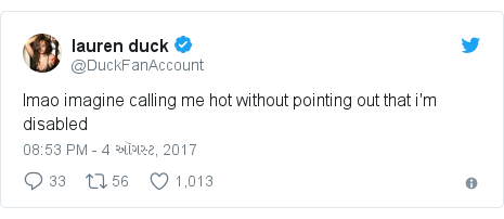 Twitter post by @DuckFanAccount: lmao imagine calling me hot without pointing out that i'm disabled